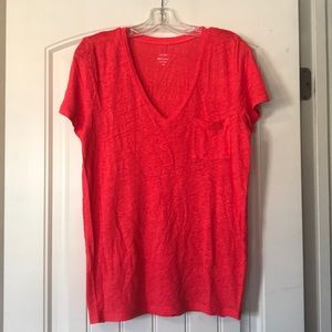 J Crew Linen V-Neck Pocket T-Shirt